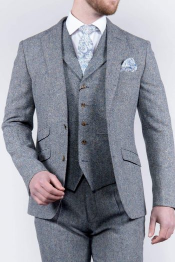 Torre 3 Piece Blue 100% Donegal Wool Tweed Suit - Suit & Tailoring
