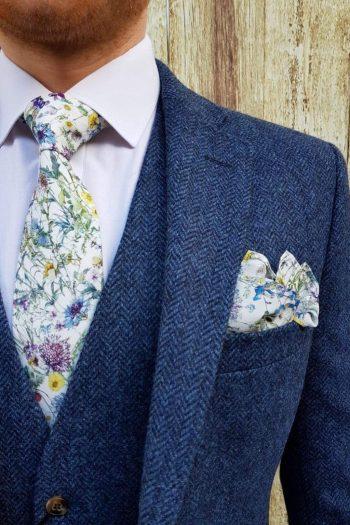 Torre Blue 100% British Wool Herringbone Mens Tweed Suit Jacket - 38S - Suit & Tailoring