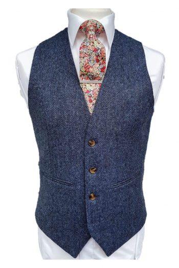 Torre Blue 100% British Wool Herringbone Mens Tweed Waistcoat - Suit & Tailoring