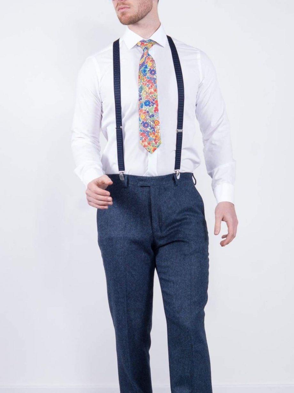 Torre Blue 100% British Wool Herringbone Tweed Trousers - 32S - Suit & Tailoring