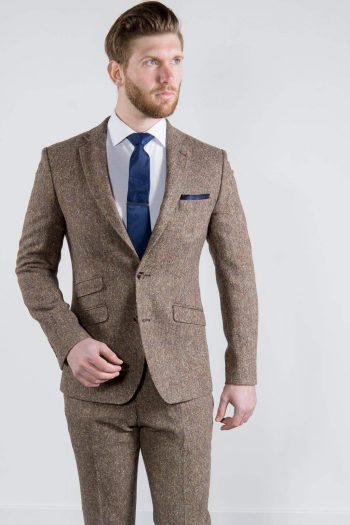Torre Elton Tweed 100% Wool Mens Brown Donegal Tweed Jacket - 38S - Suit & Tailoring