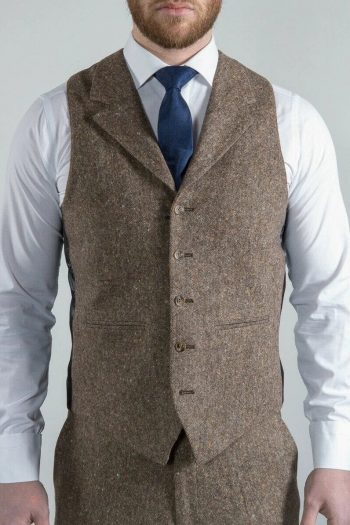 Torre Elton Tweed Mens Brown 100% Donegal Wool Tweed Waistcoat - 36R - Suit & Tailoring