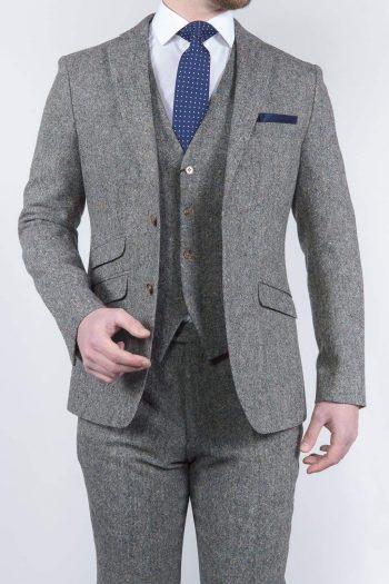 Torre Mens 3 Piece Grey 100% Wool Donegal Tweed Suit - Suit & Tailoring