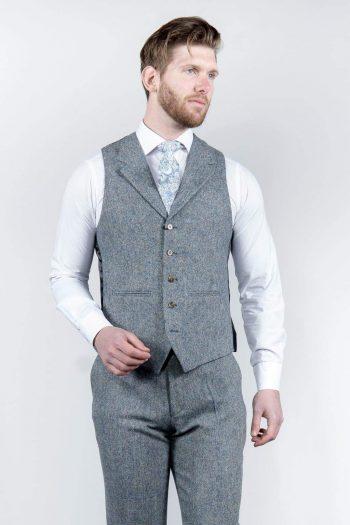 Torre Mens Blue 100% Wool Donegal Tweed Waistcoat - Suit & Tailoring