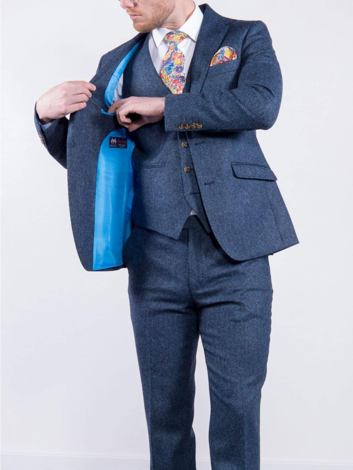 Torre Mens Blue 3 Piece 100% British Wool Tweed Suit - Suit & Tailoring