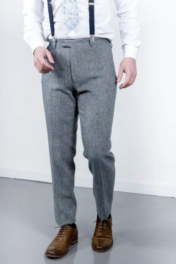 Torre Mens blue Donegal Tweed Trousers - 32S - Suit & Tailoring