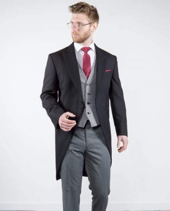 Torre Mens Classic Black Herringbone Morning Tailcoat for Royal Ascot - Suit & Tailoring