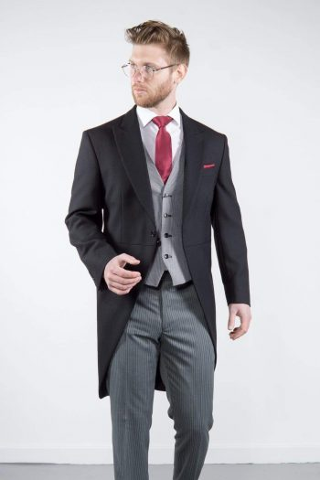 Torre Mens Classic Black Herringbone Morning Tailcoat for Royal Ascot - Suit & Tailoring