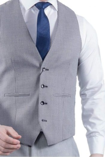 Torre Mens Classic Grey Dog tooth Waistcoat - 36R - Suit & Tailoring