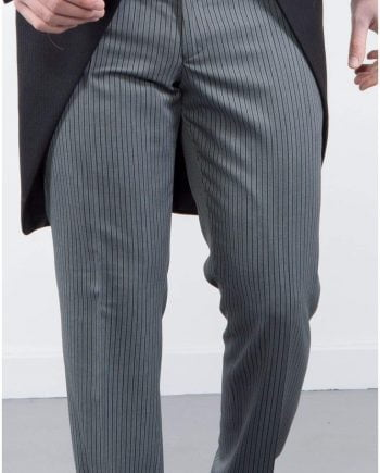Torre Mens Classic Grey Stripe Morning Trousers - 32S - Suit & Tailoring
