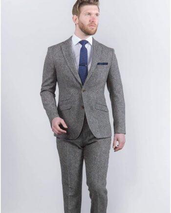 Torre Mens Grey 100% Wool Donegal Tweed Blazer - Suit & Tailoring
