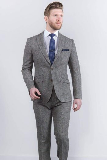 Torre Mens Grey 100% Wool Donegal Tweed Blazer - Suit & Tailoring