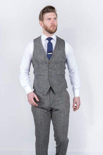 Torre Mens Grey 100% Wool Donegal Tweed Waistcoat - Suit & Tailoring
