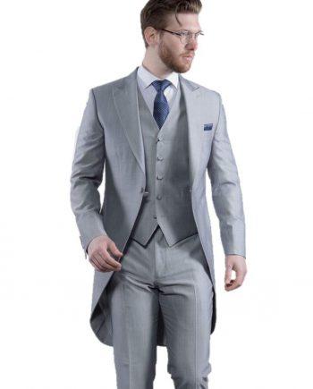 Torre Mens Light Weight Light Grey Morning Tailcoat - 38S - Suit & Tailoring