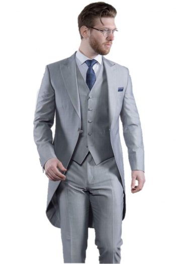 Torre Mens Light Weight Light Grey Morning Tailcoat - 38S - Suit & Tailoring