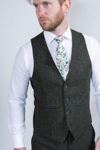 Torre Moss Mens Green 100% Wool Donegal Tweed Waistcoat - 36R - Suit & Tailoring