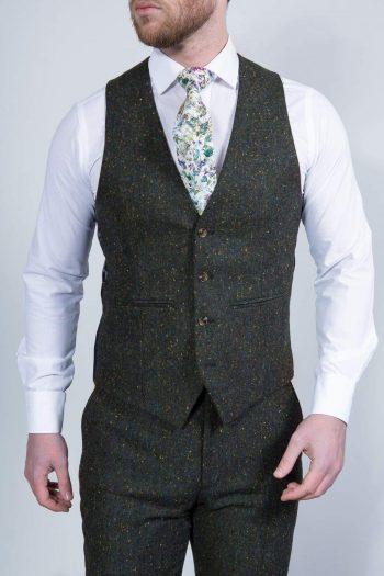 Torre Mens Green 100% Wool Donegal Tweed Waistcoat - Suit & Tailoring