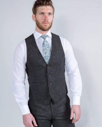 Torre Taylor Mens Grey 100% Wool Donegal Tweed Waistcoat - 36R - Suit & Tailoring