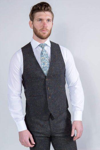 Torre Taylor Mens Grey 100% Wool Donegal Tweed Waistcoat - 36R - Suit & Tailoring