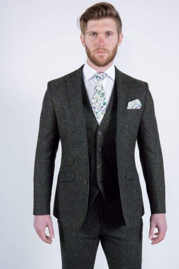 Mens Green Donegal Tweed Jacket Hire