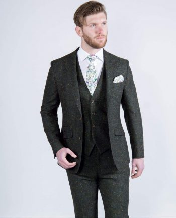 Torre Tweed 100% Wool Mens Green Donegal Tweed Jacket - 38S - Suit & Tailoring