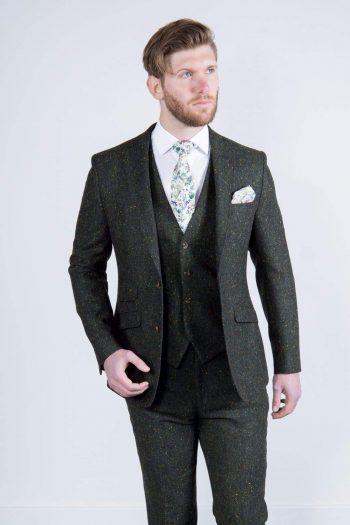 Torre Tweed 100% Wool Mens Green Donegal Tweed Jacket - 38S - Suit & Tailoring