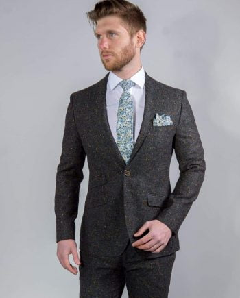 Torre Tweed 100% Wool Mens Grey Donegal Tweed Jacket - Suit & Tailoring