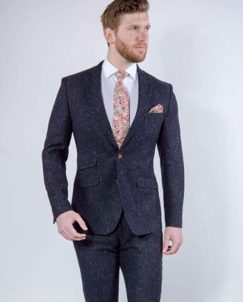 Torre Tweed 100% Wool Mens Navy Donegal Tweed Jacket - Suit & Tailoring