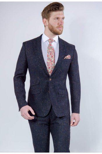 Torre Tweed 100% Wool Mens Navy Donegal Tweed Jacket - Suit & Tailoring