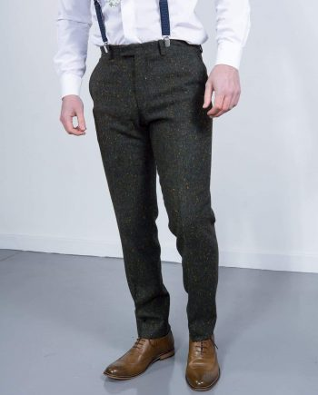 Torre Tweed Mens Green Donegal Tweed Trousers - 32S - Suit & Tailoring