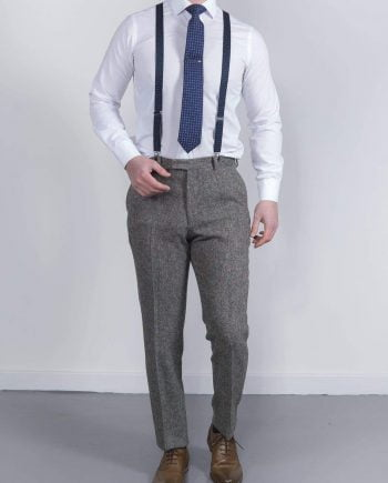 Torre Tweed Mens Grey Donegal Tweed Trousers - Suit & Tailoring