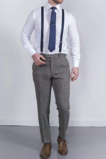 Torre Tweed Mens Grey Donegal Tweed Trousers - Suit & Tailoring