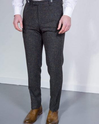 Torre Tweed Mens Grey Donegal Tweed Trousers - 32S - Suit & Tailoring