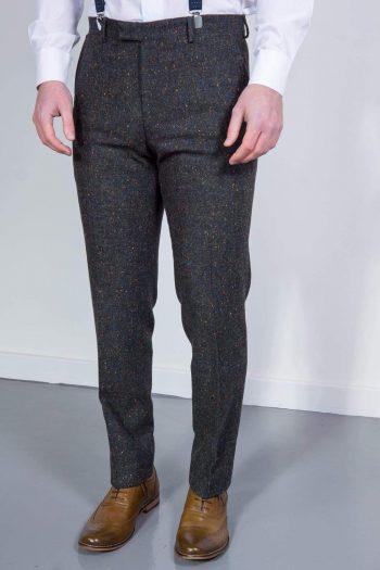 Torre Tweed Mens Grey Donegal Tweed Trousers - 32S - Suit & Tailoring