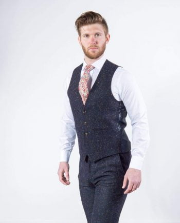 Torre Tweed Mens Navy 100% Wool Donegal Tweed Waistcoat - Suit & Tailoring