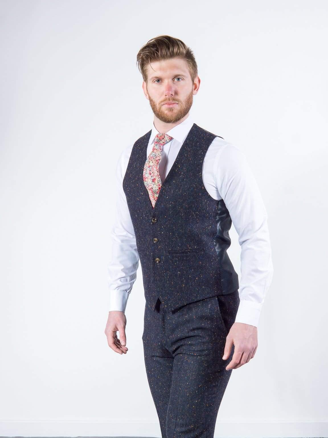 Torre Tweed Mens Navy 100% Wool Donegal Tweed Waistcoat - Suit & Tailoring