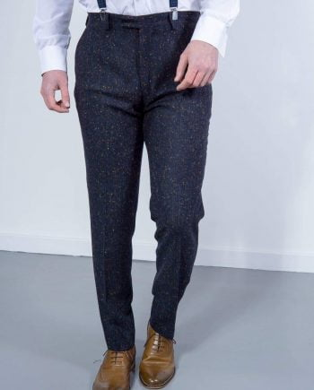 Torre Tweed Mens Navy Donegal Tweed Trousers - 32S - Suit & Tailoring