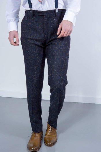 Torre Tweed Mens Navy Donegal Tweed Trousers - 32S - Suit & Tailoring
