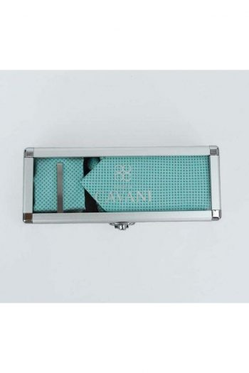 Turquoise Diamond Tie Hank Tie Pin Cufflinks Set - Accessories
