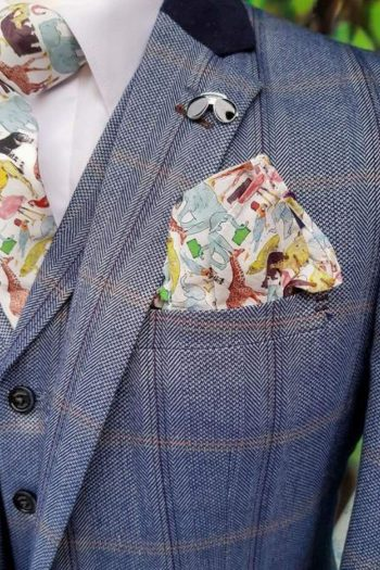 Tweed Blue Suit Connall Blue 3 Piece Slim Fit Check by House of Cavani - 36R / 30R - Suit & Tailoring