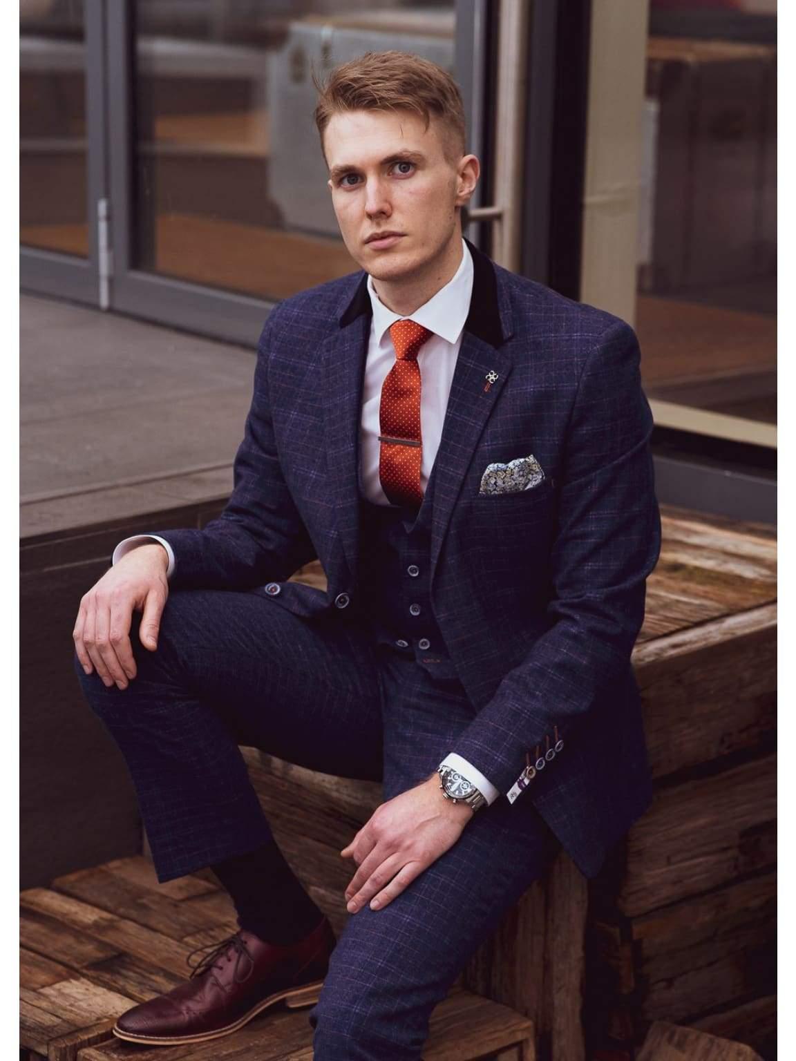 Tweed Style Blue Cavani Kaiser 3 Piece Slim Fit Check Suit - 36R / 30R - Suit & Tailoring