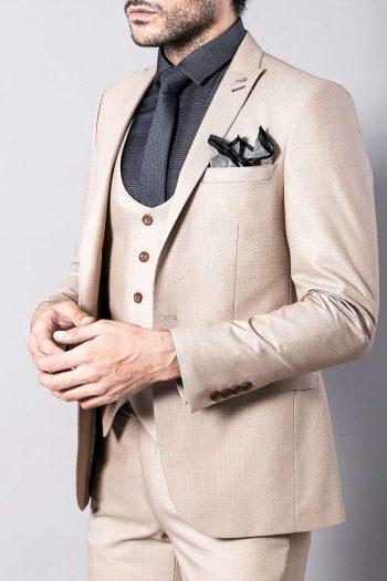 Venice Mens 3 Piece Skinny Fit Beige Suit - Suit & Tailoring