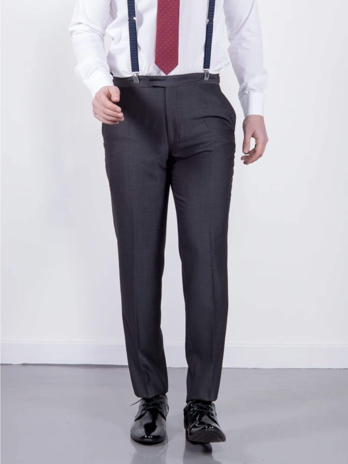 Wedding Special Torre Mohair Tailored Fit Charcoal Suit Trousers - 32S - Suit & Tailoring