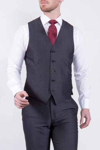 Wedding Special Torre Mohair Tailored Fit Charcoal Suit Waistcoat - 34R - Suit & Tailoring