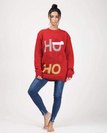 Womens HO HO HO Knitted Christmas Jumper In Red - S/M - FOR HER