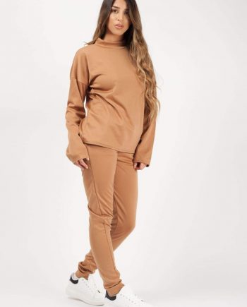 Womens Long Sleeves Camel Brown Loungewear Co-ord - FOR HER