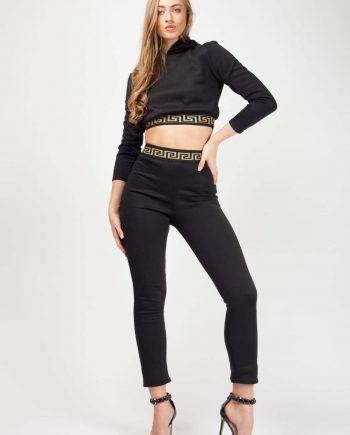 Womens Patterned Trim Fleece Hooded Crop Top & Trouser Co-ord - FOR HER