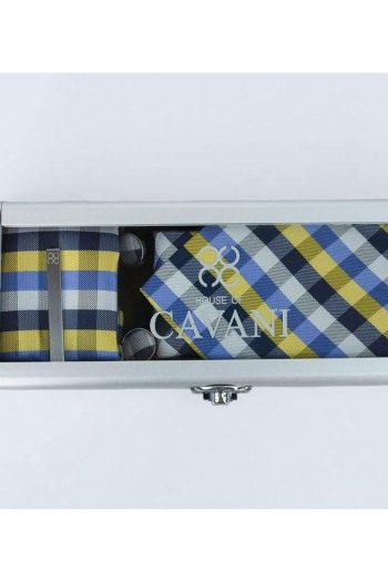 Yellow Check Tie Hank Tie Pin Cufflinks Set - Accessories