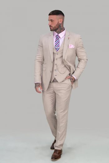 Sandom Beige Groomsman Suit