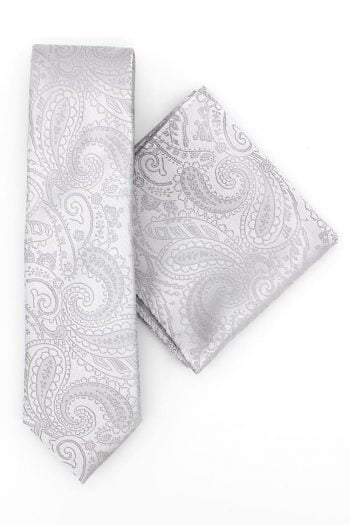 Silver-Paisley Wedding Tie-Set Hire